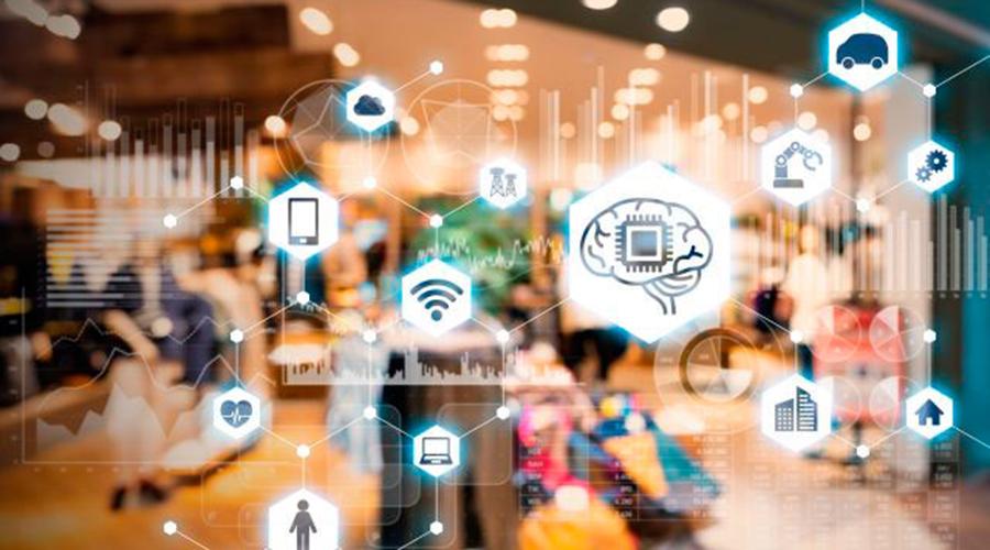Imatge que mostra tot d'icones relacionades amb les noves tecnologies, internet i la intel·ligència artificial