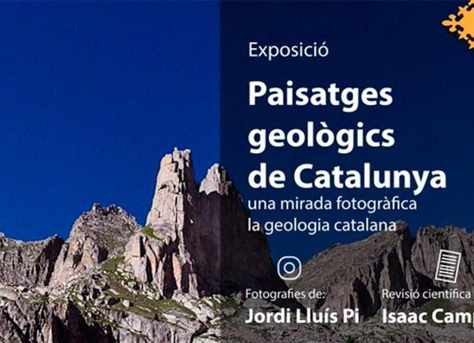 Tros del cartell que anuncia l'exposició de Paisatges geològics de Catalunya