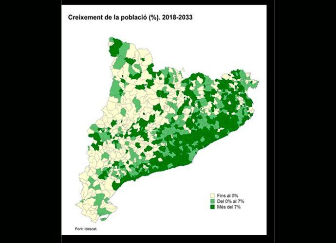 Mapa de creixement de població pel 2033