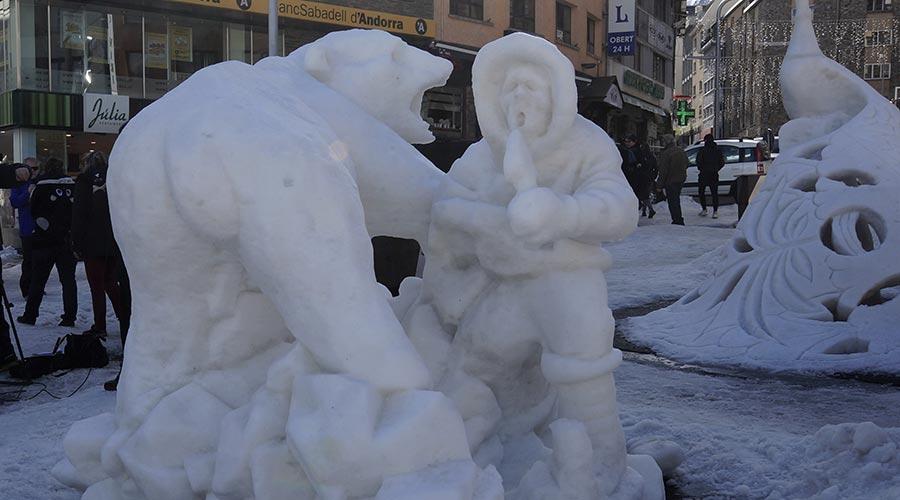 L?escultura Fauna Salvatge, que ha guanyat el primer premi del concurs d'escultures de neu d'aquest 2020