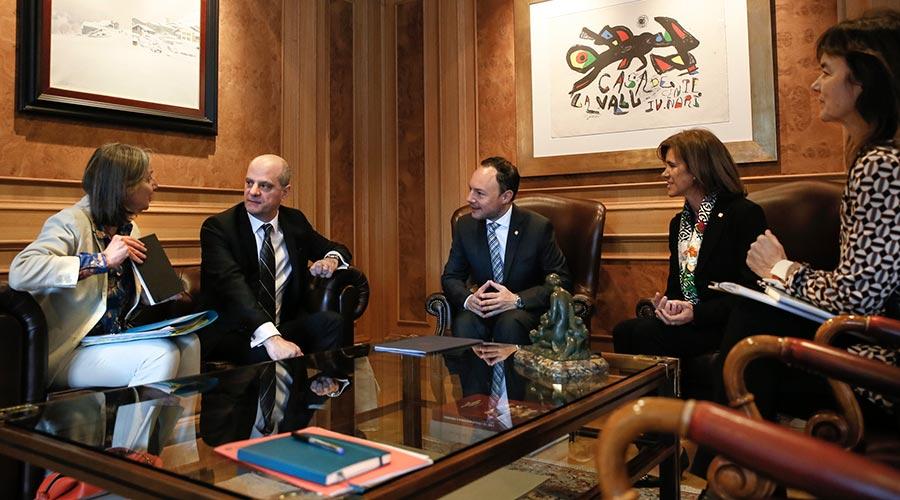 Reunió de la delegació francesa liderada per Blanquer amb el cap de Govern, Xavier Espot i la ministra Vilarrubla