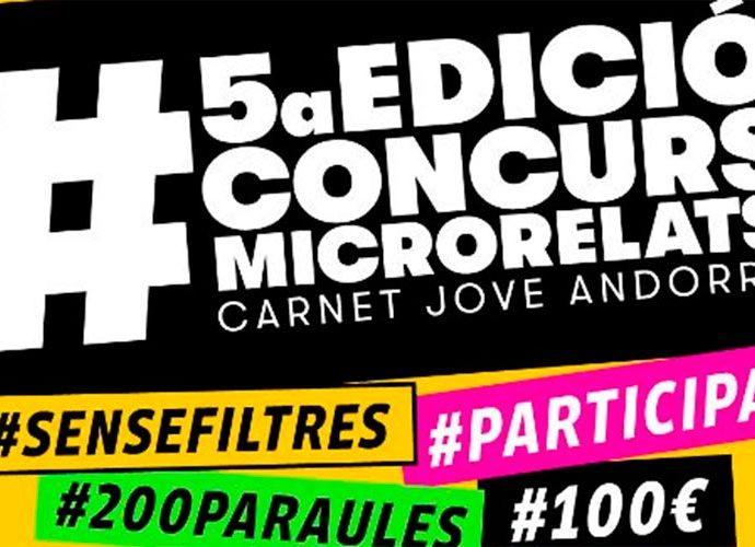 part del cartell del 5è concurs de microrelats del carnet jove d'Andorra