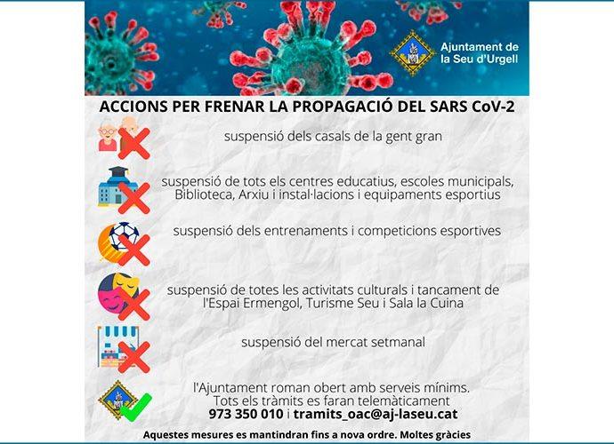 cartell amb mesures de l'ajuntament de la Seu d'Urgell