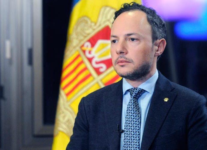 Xavier Espot durant l'al·locució amb motiu de la crisis del coronavirus