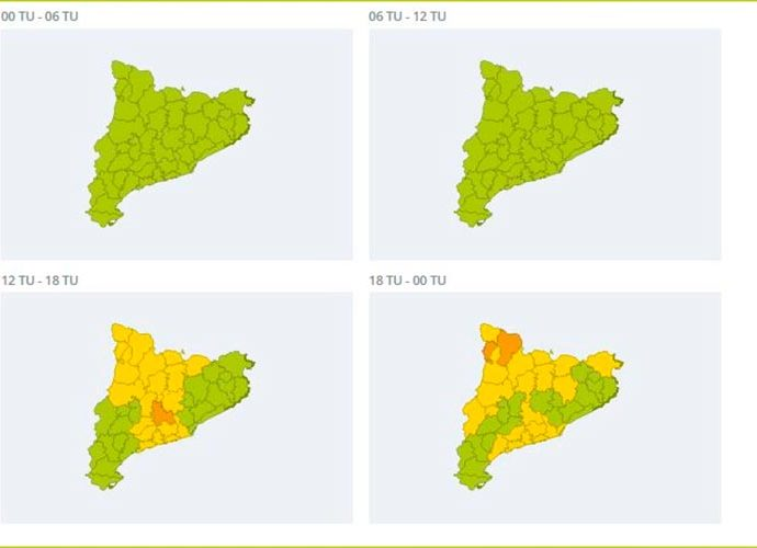 Els mapes d'activació d'alerta per ventades