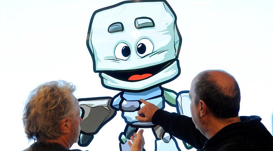 Pere Moles i la mascota dels Jocs del Petits Estats d'Europa