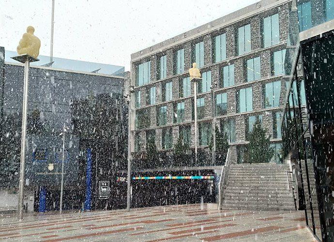 La nevada aquest 3 de març del 2020 al centre d'Andorra la Vella