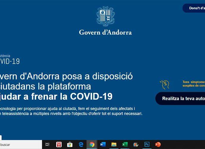 Pantalla d'inici de la plataforma digital per al control de la Covid-19