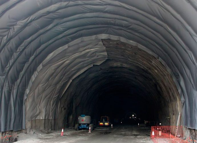 Obres de construcció del túnel de Tresponts