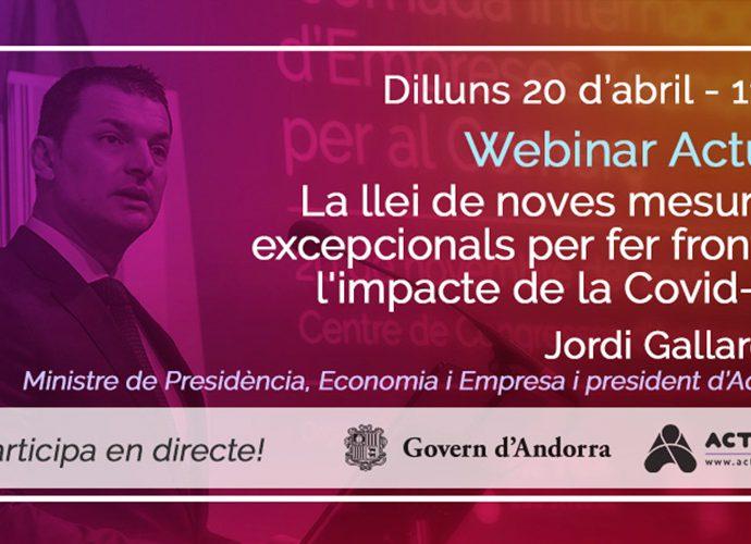 El ministreJordi Gallardo participarà en un nou seminari d'Actua