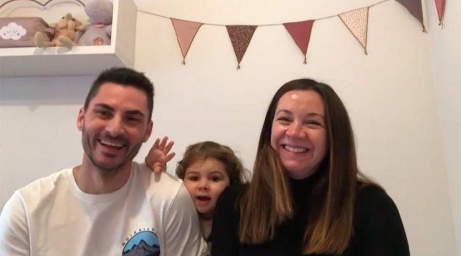 La Sofia, l'Aitor i la seva filla Alma