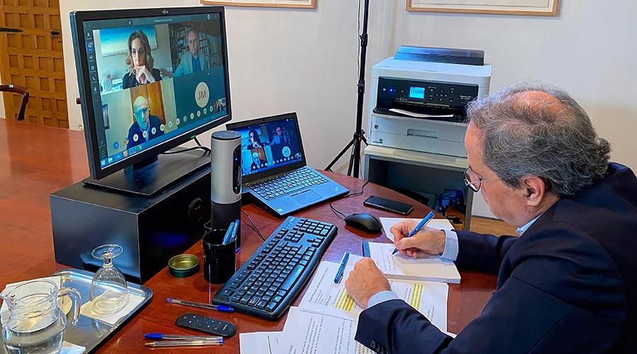 quim Torra en videoconferència amb els rectors de les universitats