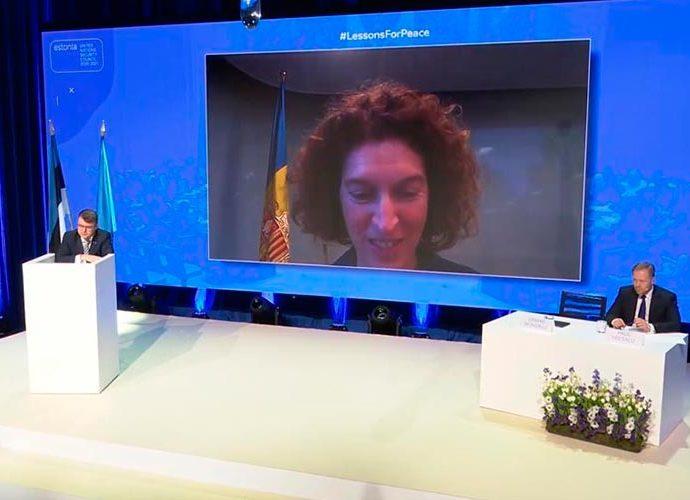 Ubach en una reunió telemàtica del Consell de Seguretat de l'ONU