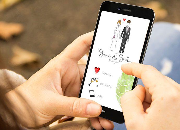 M`bil amb una app de casament en línia
