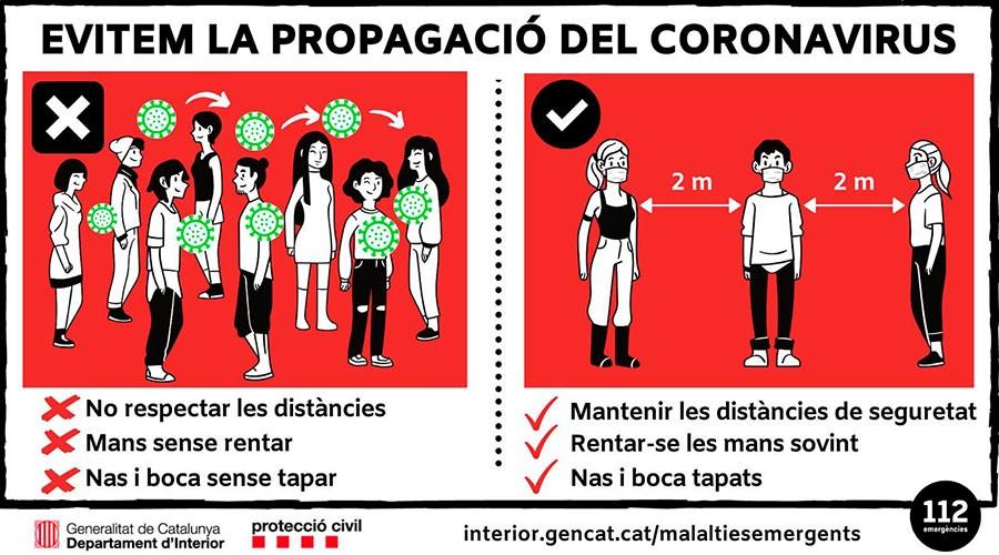 Informació de Protecció Civil sobre com frenar la propagació del coronavirus