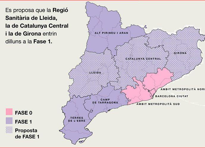 Mapa de la proposta de desconfinament a Catalunya