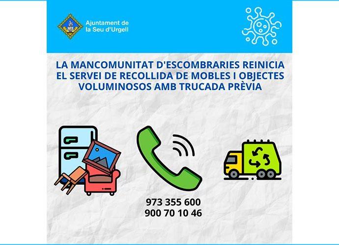 Cartell informatiu de la represa del servei de recollida de voluminosos de la Mancomunitat d'Escombraries de l'Urgellet