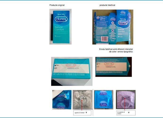 Imatges comparatives dels preservatius originals i dels falsificats