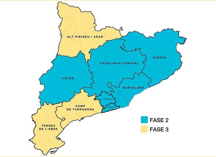 El mapa de Catalunya segons la fase a la que entren el 8 de juny del 2020