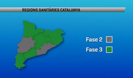 Plano de les Regions sanitàries de Catalunya en fase 3
