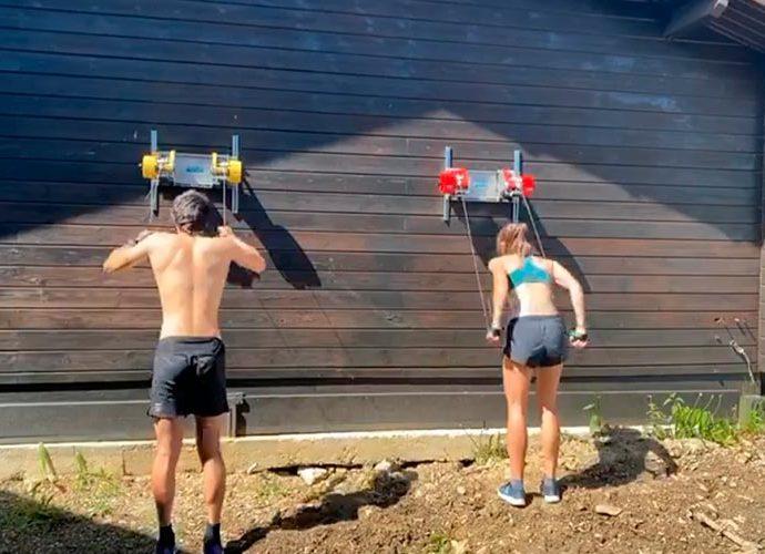 esquiadors de fons gent un entrenament de gimnàs al Refugi d'Entrenament en Alçada a la Rabassa