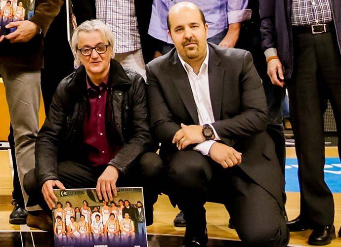 Magí Castillejo, amb Gorka Aixàs, en un homenatge al BC Andorra de 1986