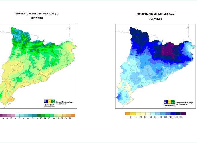 Mapes de temperatura i precipitació de Catalunya corresponents al mes de juny del 2020