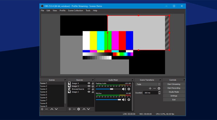 El programa Open Broadcaster Software (OBS)