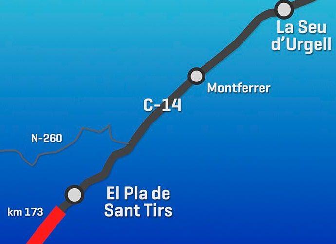 Mapa de la carretera C14 entre el Pla de Sant Tirs i la Seu d'Urgell