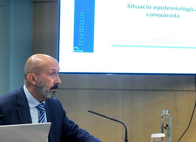 El ministre de Salut, Joan Martínez Benazet, durant una roda de premsa