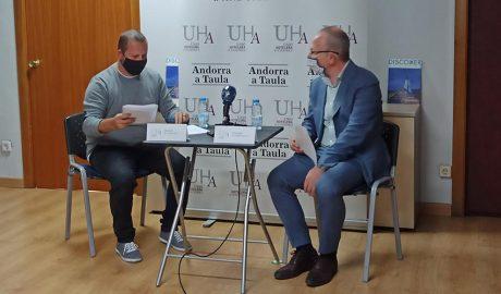 Jordi Pujol i Carles Ramos al local de la Unió Hotelera