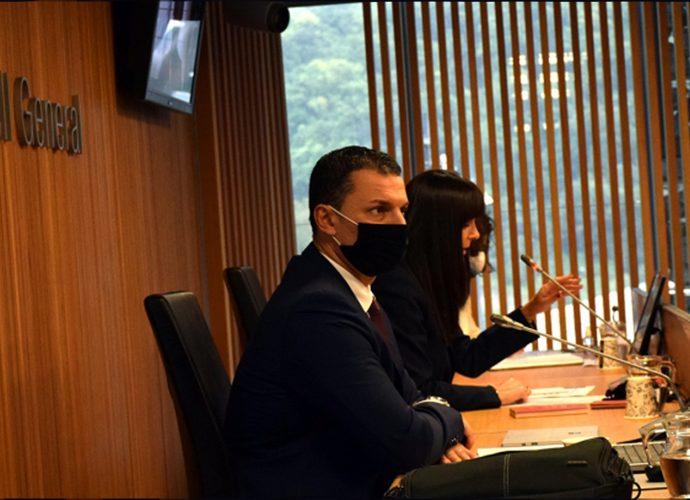 El ministre de Presidència, Economia i Empresa, Jordi Gallardo, compareix davant de la comissió legislativa d'Economia.
