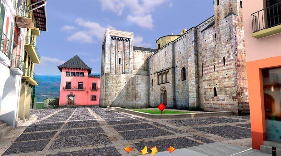Vista de l'Ajuntament i de la Catedral en la visita virtual del centre històric de la Seu d'Urgell