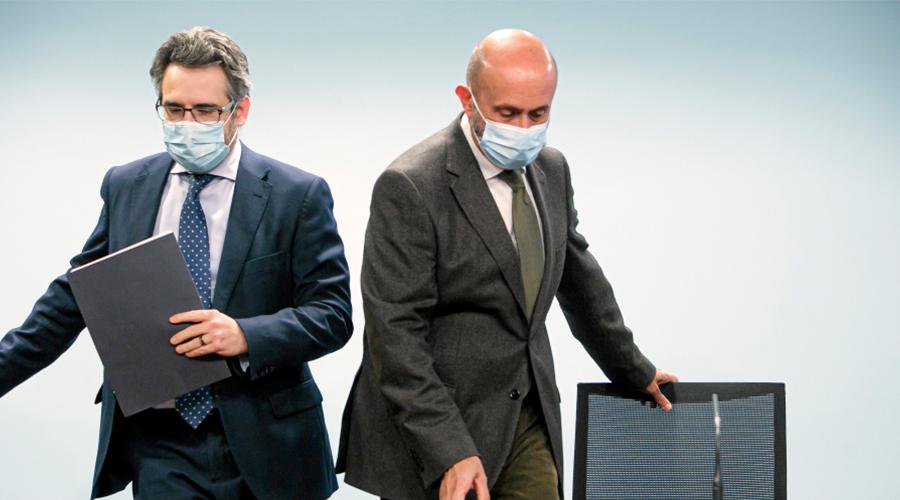 El ministre portaveu, Eric Jover, i el de Salut, Joan Martínez Benazet